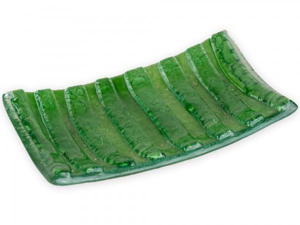Seifenschale Glas, grün 15 x 10 cm